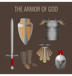 Long sword of spirit readiness shield armour vector image