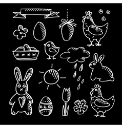 Set of spring easter chalk doodle sketches icons vector image vector image