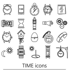 time theme modern simple outline icons set eps10 vector image vector image