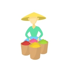 Asian man in a conical hat sells fruit icon vector image vector image