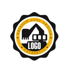 Backhoe logo design excavator equipment service vector