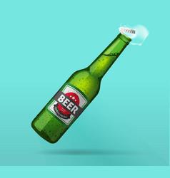 beer bottle open green glass bottle opened cold vector image vector image