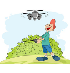 boy playing with a helicopter vector image