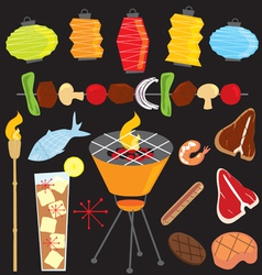 evening retro bbq party icons vector image