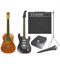 guitar and music equipments vector image vector image