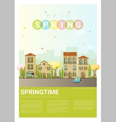 Hello spring cityscape background 6 vector image vector image