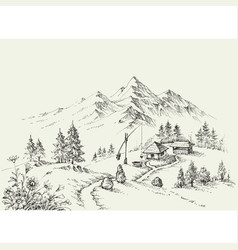 pastoral site in the mountains pure alpine vector image vector image