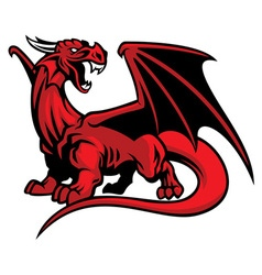 red dragon mascot vector image