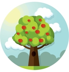Round picture tree apples apple among the vector image vector image