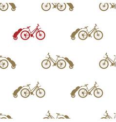 Seamless pattern bike trailer vector