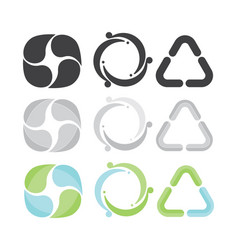 Set of 3 recycle icons gray green and blue vector