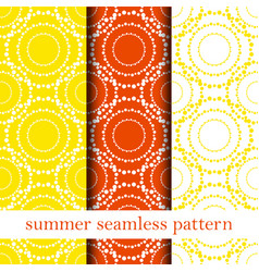 set of orange abstract seamless pattern vector image vector image