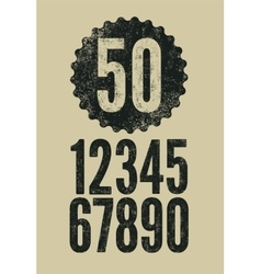 Set of retro numerals with letterpress effect vector image vector image