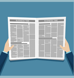 business news newspaper in hands vector image