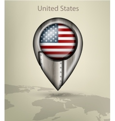 map marker steel with glare and shadows united vector image