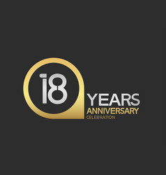 18 years anniversary celebration simple design vector