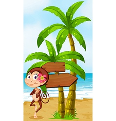 A monkey in a hawaiian attire dancing near the vector image vector image