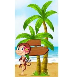 A monkey in hawaiian attire dancing near vector