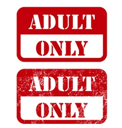 Adult only sign - shabby stamp vector