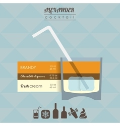 Alexander cocktail flat style vector
