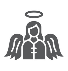 angel glyph icon religion and heaven character vector image