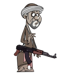 Arab man with a gun vector image