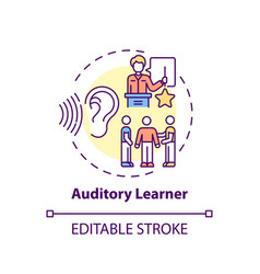 Auditory learner concept icon vector