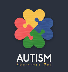 Autism awareness day love puzzle game card vector
