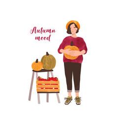 autumn mood postcard flat template girl vector image