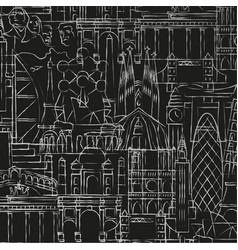 background of drawings of famous monuments vector image