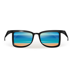Beach of the sea is reflected in sunglasses vector