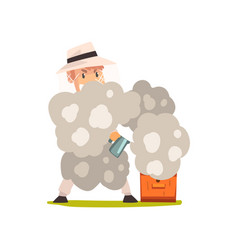 Beekeeper man with smoker smoking hive apiculture vector