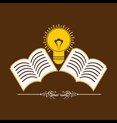 Book icons background with bulb stock vector image