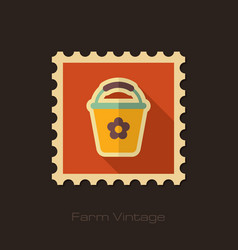 Bucket retro flat stamp with long shadow vector