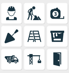 Building icons set collection of maintenance vector