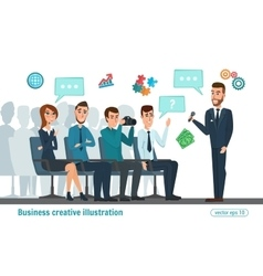 Business professional meeting Journalists and vector image