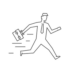 businessman with case running linear vector image