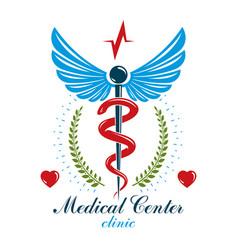 caduceus conceptual logo made using heart shape vector image