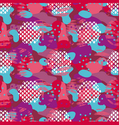 Camo red and violet seamless pattern vector