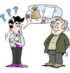Cartoon of a sales man giving older man vector