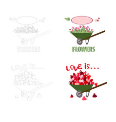 carts full of hearts and tulips vector image