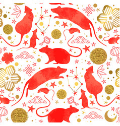 chinese new year red watercolor rat background vector image