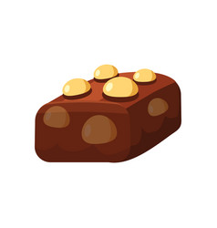 Chocolate covered bonbon candy stuffed nougat vector