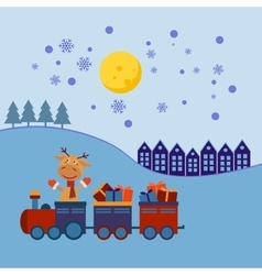 Christmas train with gifts vector