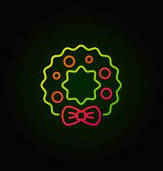 Christmas wreath colored line icon on dark vector