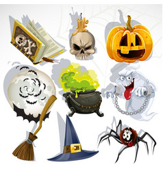 collection halloween related objects vector image