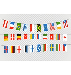 Color flags different countries on transparent vector