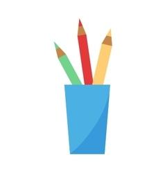 color pencils in cup vector image