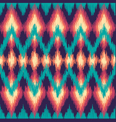 Colorful seamless ikat ethnic pattern zigzag vector