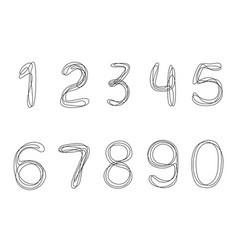 continuous one line drawing numbers from 0 to 9 vector image